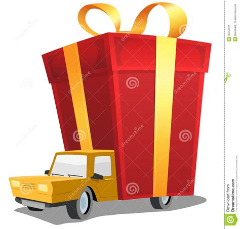birthday gift on delivery truck stock vector image 36757971