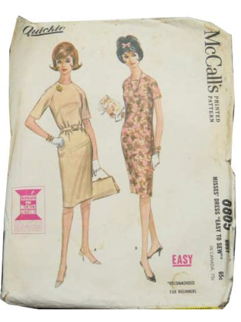 dress pattern without darts vintage 1960 s sewing pattern 60s mccalls 6805 misses