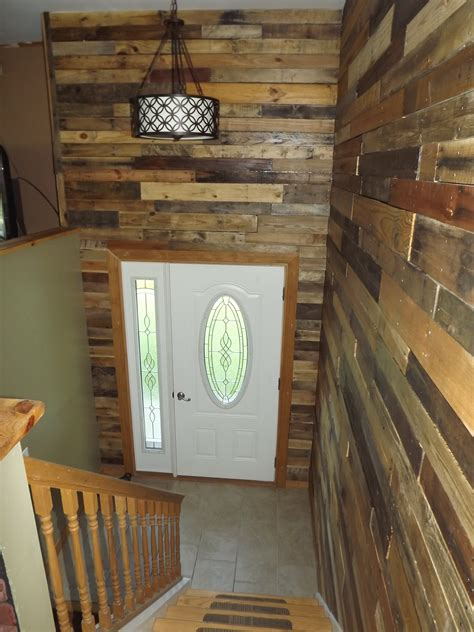 My Foyer by My Bi Level Home Foyer With Pallet Wood Walls For The