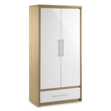 elite 2 door wardrobe in oak and white high gloss 13229 furn
