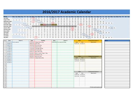Calendar 2017 Template Excel 2017 2018 And 2016 2017 School Calendar Templates Excel