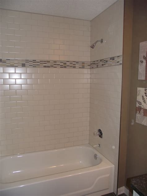 bathtub tiling main bathroom white subway tile tub surround offset