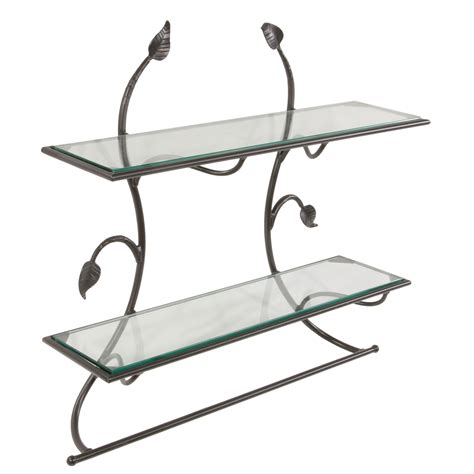 Towel Bar And Shelf by Pictured Is The Wrought Iron Leaf Wall Shelf Towel Bar