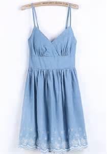 light blue floral embroidery shoulder strap denim dress