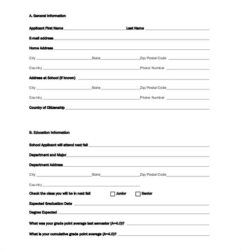 college application template update 53136 school application form exle 39