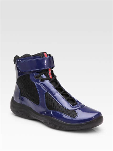 prada sneakers blue prada doublestrap sneakers in purple blue black lyst