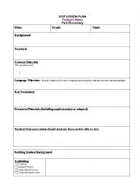 siop model lesson plan template worksheets siop lesson template