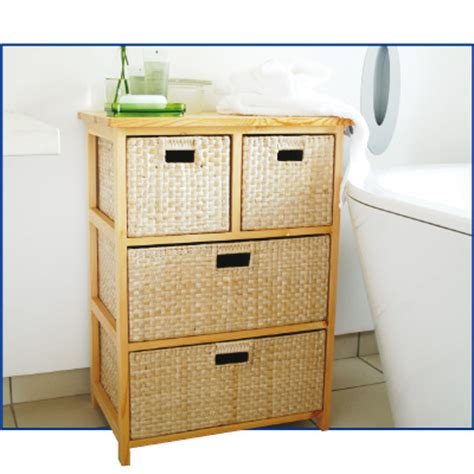 Chest With Wicker Basket Drawers by 4 Drawer Baskets Rattan Wicker Storage Chest Ebay