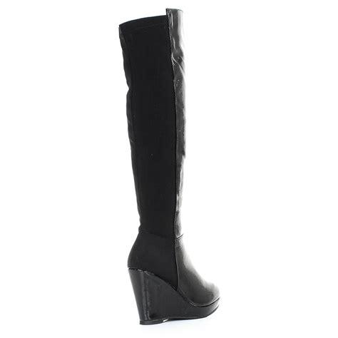 womens wedge heel platform knee high slim fit
