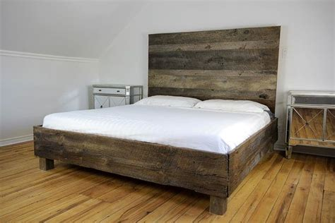 Barn Wood Bed Frames Our Beresford Bed Boasts A Gorgeous Reclaimed Barn Wood Frame Adorned With A Contemporary Style