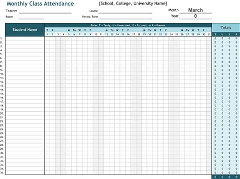 Attendance List Template Sheets For Word And Excel 174 Student List Excel Template
