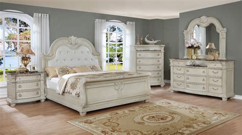 stanley white king sleigh bedroom set  furniture place
