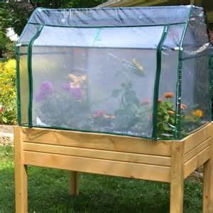 raised mini greenhouse herb flower vegetable garden