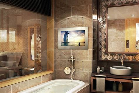 bathroom tv ideas tech2o luxury outdoor bathroom mirror tvs for homes