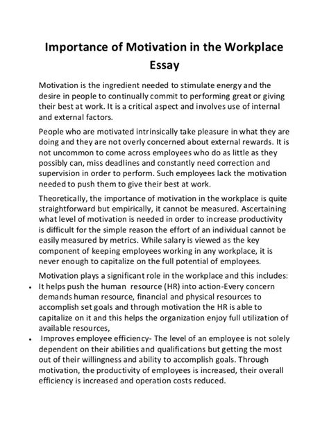 paper writing motivation importance of motivation in the workplace essay