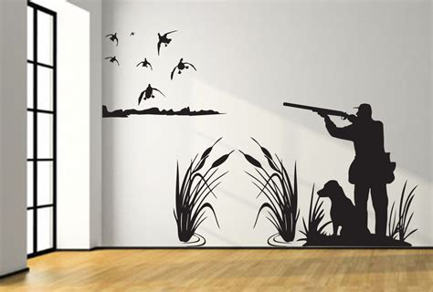 Deer Wall Mural mallard duck hunting wall decal 8ft large hunter and dog duck