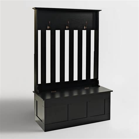 black hallway bench black wood wentworth entryway storage bench world market