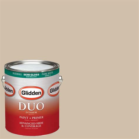 glidden duo 1 gal gly23 honey beige semi gloss interior paint with primer gly23 01s the home