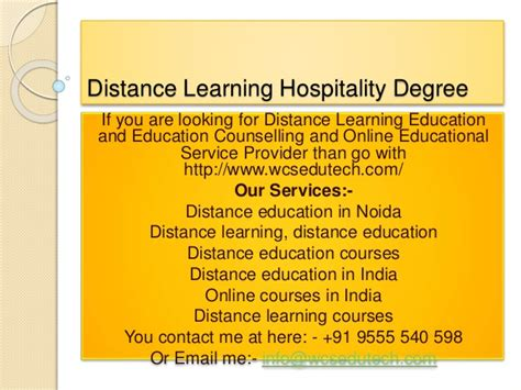 Distance Mba In Hospitality Management In India by Distance Learning Hospitality Degree