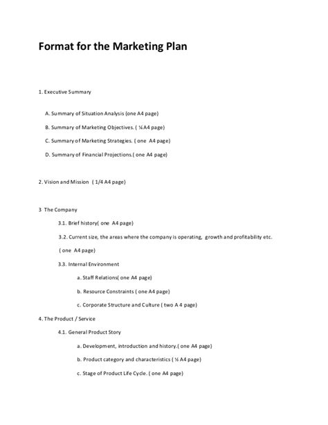 Marketing Plan Outline by Marketing Plan Format 2013