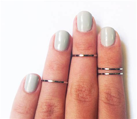 4 chrome silver thin knuckle rings silver midi rings set of