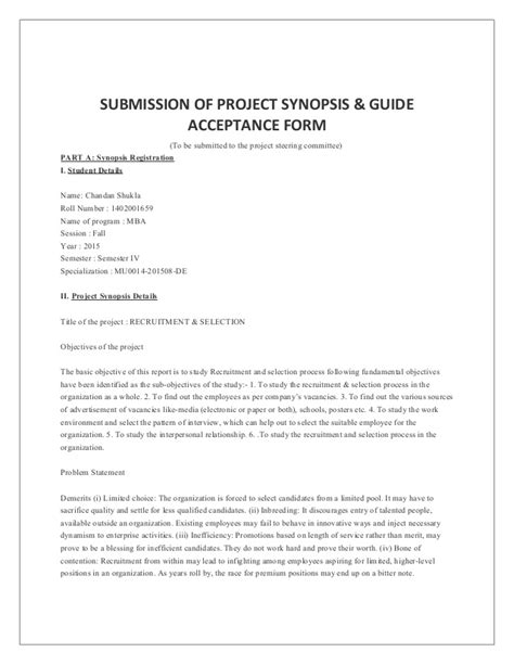 Mba Project Report Synopsis Format by Project Synopsis Mba