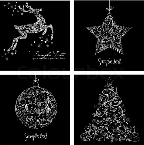 images of christmas black and white black and white christmas cards stock vector colourbox