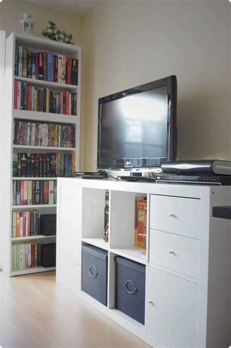 Expedit Tv Shelf by Using Expedit Horizontally Creates A Tv Rack Of