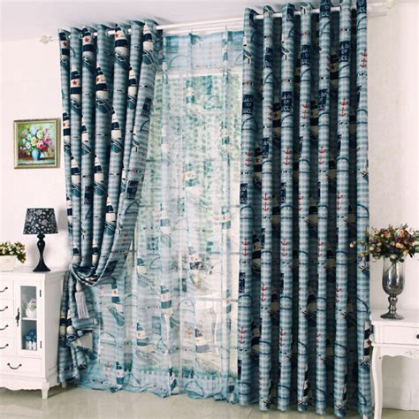 Nautical Blackout Curtains Thick Blackout Blue Poly Cotton Nautical Curtains