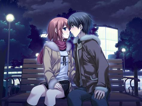 love couple kiss themes romantic anime wallpapers wallpaper cave