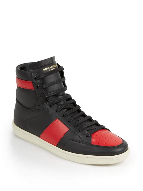 popular high top sneakers laurent colorblocked leather high top sneakers in
