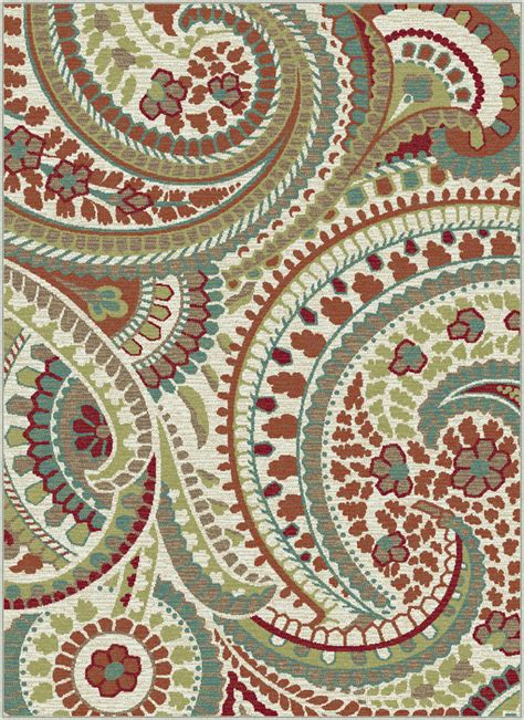 Paisley Area Rug Ivory Transitional Paisley Area Rug Floral Leaves Multi Color Casual Carpet Ebay