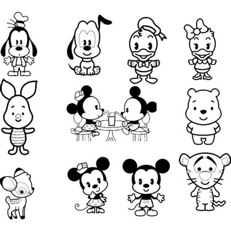 free coloring pages of disney cuties set