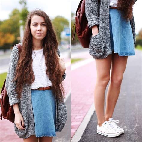 7 Best Jean Skirts For Back To School by Rutkowska Sweater Backpack Converse Chicnova