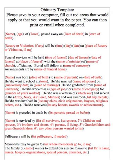 obituary template word document 25 free obituary templates and sles free template
