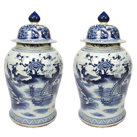 blue and white ginger jars pair of blue and white ginger jar with phoenix and peonies