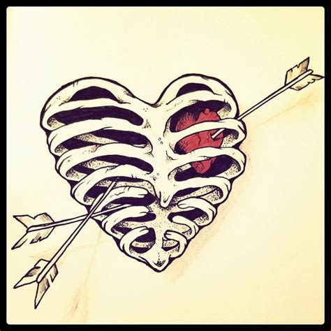 heartbeat tattoo rib cage ribcage heart by cba just a sketch pinterest