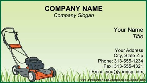 lawn care business cards templates free a power lawnmower sits on grass on this green