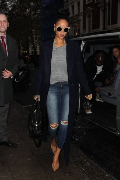Hq 11462 Ripped Pencil Denim shoes ripped rihanna fall streetstyle sweater coat winter