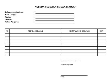 format buku agenda buku agenda kegiatan kepala sekolah sekolah dasar negeri