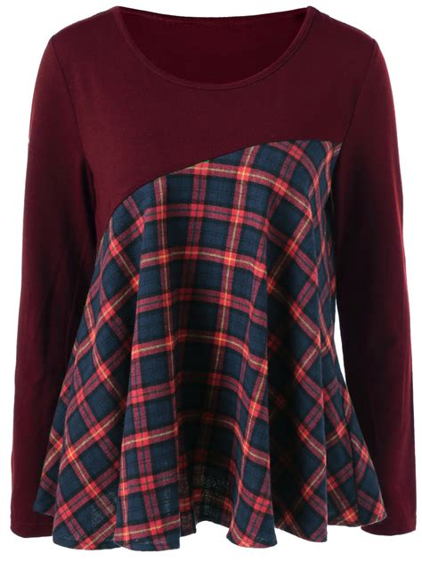 Sweater Leather Patch Maroon Plaid patch plaid blouse in burgundy m sammydress