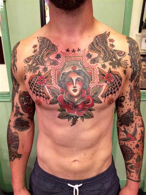 chest pieces tattoos traditional chest by aaron hodges spider murphy s