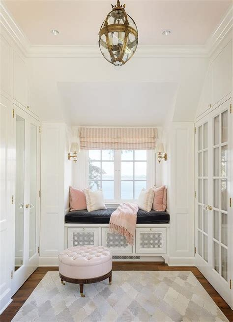 white  pink closet  pink ceiling transitional