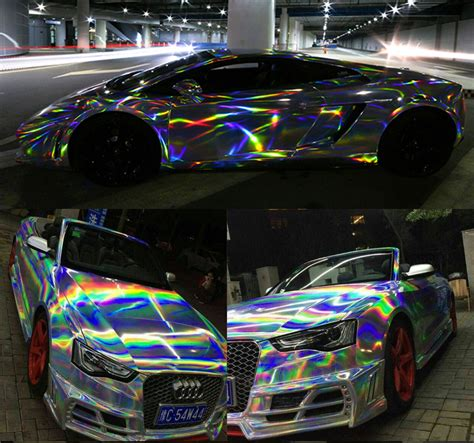 holographic car laser car wrap holographic rainbow sticker car