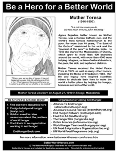 mother teresa a biography pdf mother teresa betterworldheroes com hero handouts