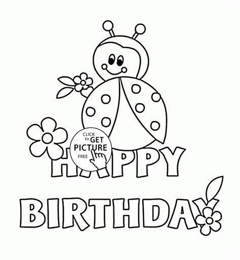 Happy Birthday Card With Ladybug Coloring Page For Kids Happy Birthday Card Printable Coloring Pages