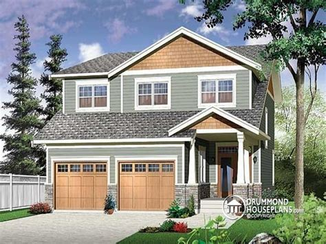 two story bungalow narrow two story craftsman house plans with garage two