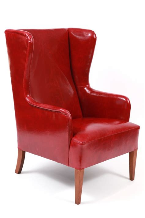 modern leather chair and ottoman illums bolighus leather wingback chair and ottoman red