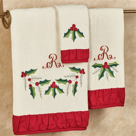 Bedspread And Curtain Sets by Holly Wreath Holiday Bath Towel Set