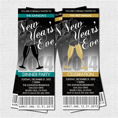 New Year S Eve Party Ticket Invitations Print Your Own New Years Ticket Template